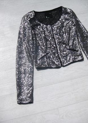 Блестящий серебристый вечерний пиджак расшитый пайетками tally weijl