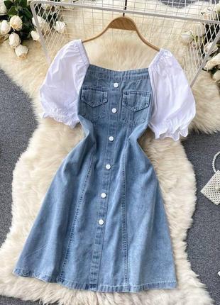 Женское джинсовое платье короткое летнее трикотажный белый верх