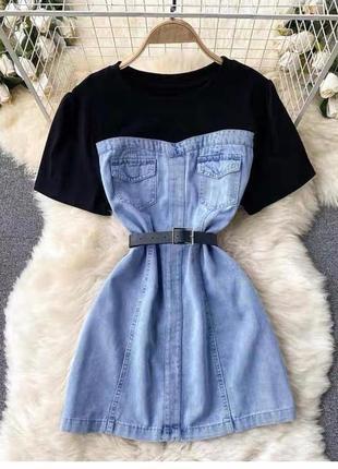 Женское джинсовое платье короткое летнее трикотажный черный верх