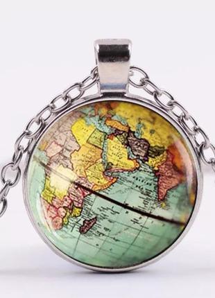Кулон карта мира подвеска