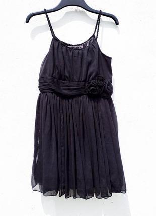 Пышное короткое чёрное шифоновое платье h&m