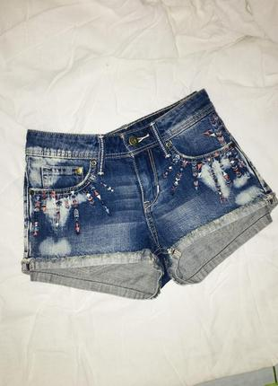 Шорты джинсовые тай дай tie dye с вышивкой узором шортики короткие летние