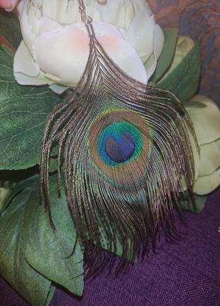Красивые серьги перья равлина сережки перо