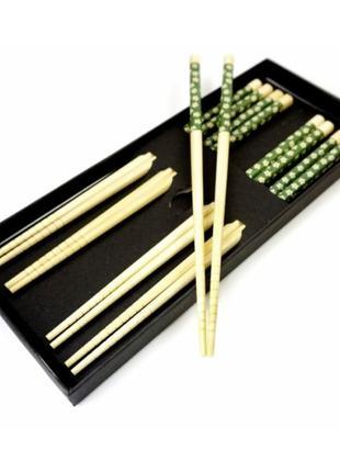 Палочки для еды бамбук с рисунком набор 5 пар