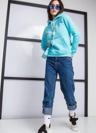 Стильная бирюзовая теплая кофта - худи в трендовом цвете, женская кофта с капюшоном ,на байке