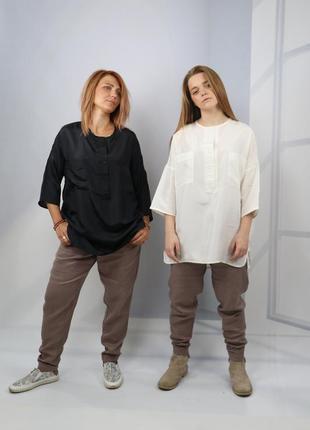 Натуральная шелковая рубашка оверсайз