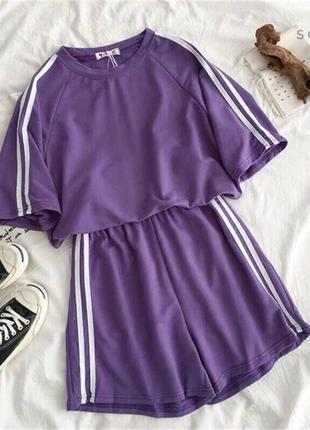 Костюм повседневный спортивный с полосками летний лёгкий модный футболка шорты кроп топ с высокой талией