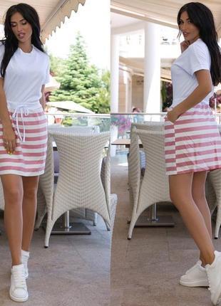 Платье женское летнее легкое спортивное морячка белое свободное лен
