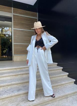 Костюм пиджак топ брюки штаны широкие свободный комплект осенний летний лёгкий повседневный классический оверсайз жакет