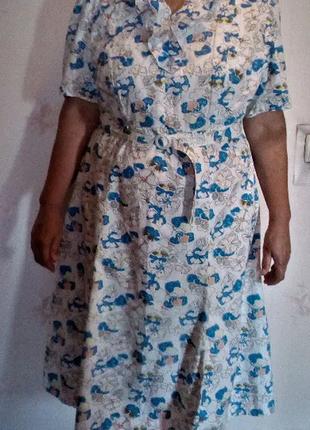 Красивое летнее платье хлопок размер 54 (можно на 56)