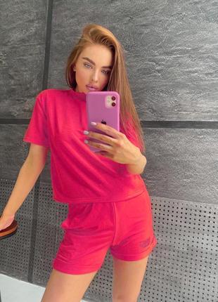 Костюм с шортами футболкой летний женский легкий лиловый розовый
