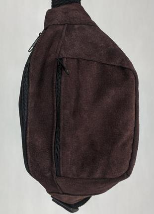 Бананка кожа шкіра замша эко-сумка на пояс ручная работа шоколадная большая б9