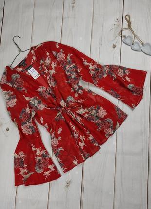 Блуза накидка легкая стильная в принт цветы uk 18/46/xxl