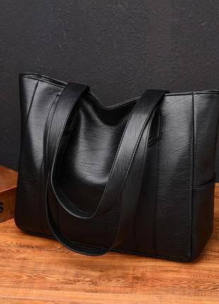 Большая чёрная женская сумка-тоут