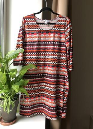 Платье туника хлопок трикотаж орнамент этическое