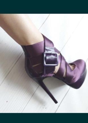 Туфли, босоножки, ботильоны на высоком каблуке, атласные, 37р