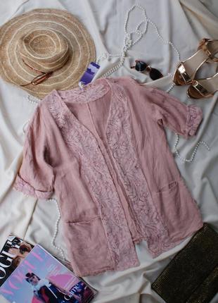 Трендова лляна блуза піджак блейзер жакет льон італія
