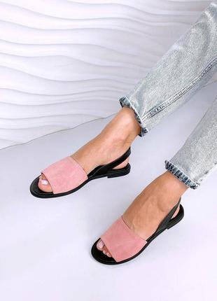 Кожаные сандалии замшевые. наложка