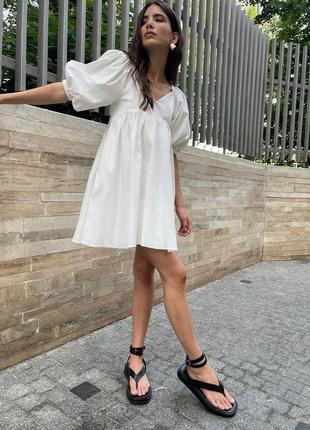 Платье с пишним рукавом з волан под зару