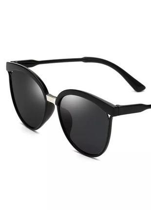 Чёрные солнцезащитные очки кошечки кошачий глаз пластиковые