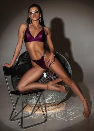 Баклажановый раздельный купальник со сьёмными вкладышами + парео в подарок 🔥