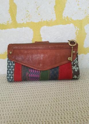 Fossil яркий кожаный кошелёк женский кошелек жіночий гаманець кошельок шкіра шкіряний