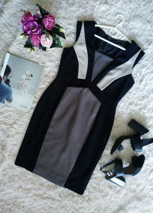 Стильное платье в деловом стиле, цветные блоки, стройнит