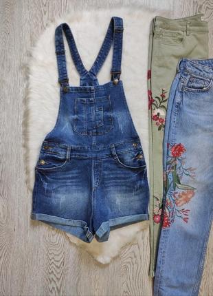 Синий джинсовый комбинезон ромпер шортами шлейками плотный стрейч батал большого размера