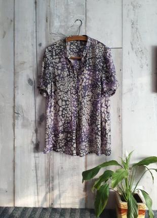 Шелковая удлиненная блузка свободный силуэт большого размера р 16