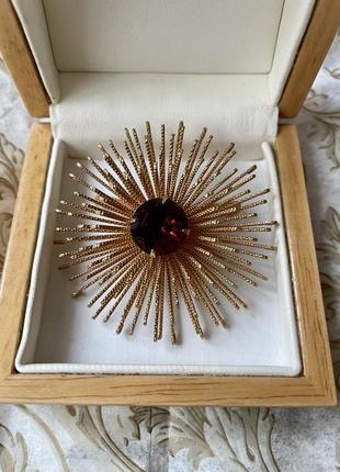 Sarah coventry брошь золотистая цветок американская винтажная бижутерия