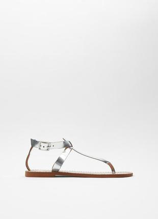 Zara кожаные серебряные босоножки сандалии 38 р