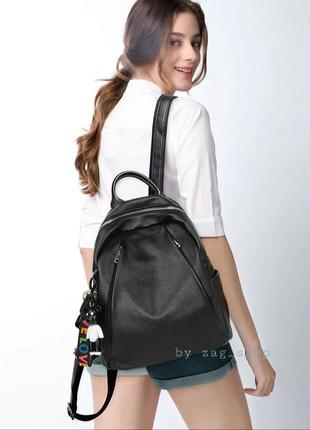 Аккуратный женский кожаный городской рюкзак чёрный жіночий рюкзак натуральна шкіра