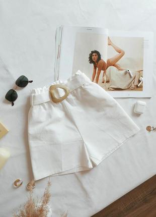 Хлопковые коттоновые шорты свободные с поясом на резинке