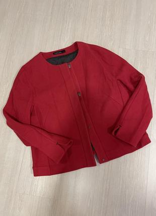 Пальто полупальто шерстяное весеннее пиджак жакет красный