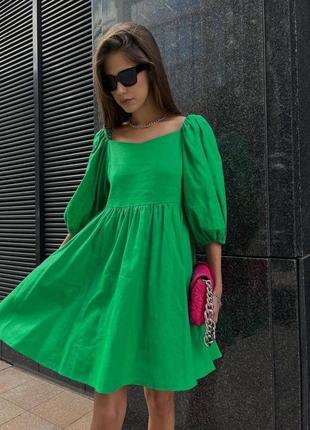 Платье с рукавами воланами.чёрное,белое,фуксия,зелёное