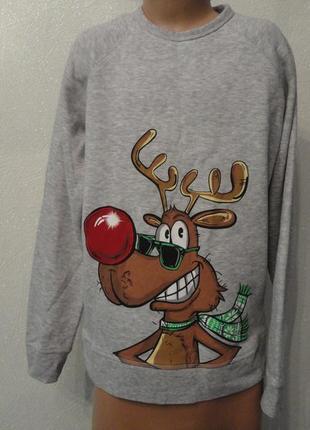 Свитер,толстовка на флисе,утепленая кофта 13лет, худи с оленем, новогодняя