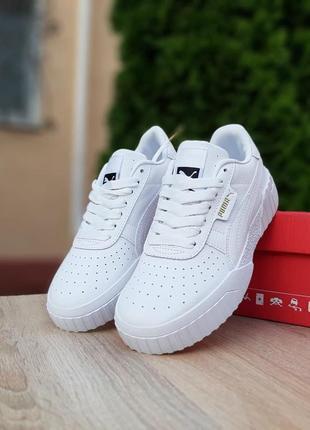Puma cali🆕женские кожаные кроссовки пума кали🆕полностью белые кеды-кроссовки