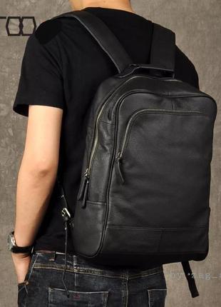 Мужской кожаный городской рюкзак черный сумка в дорогу портфель под ноутбук