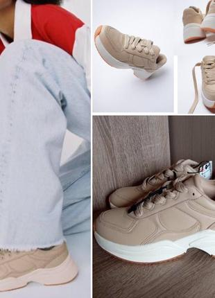 Новые бежевые кожаные кроссовки zara 39, 40