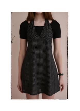 Сукня плаття платье чорне чорна чёрная в белый білий горох крапку ретро вінтаж винтаж міні мини xs s