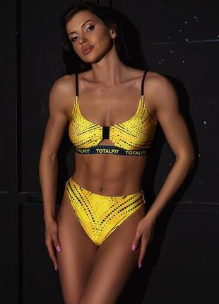 Желтый черный раздельный купальник + парео в подарок 🔥🔥🔥