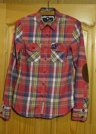 Яркая приталенная х/б клетчатая рубашка в стиле кантри superdry англия xs