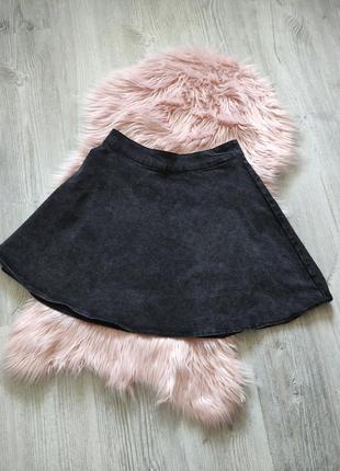 Серо-черная джинсовая юбка солнце l