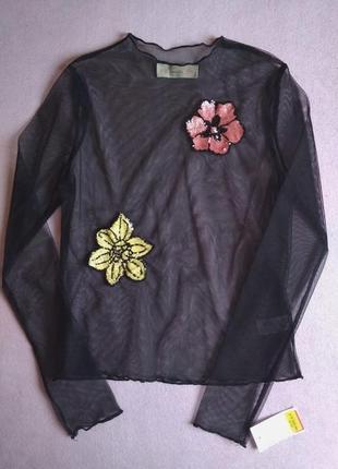 Прозрачная блуза сетка с аппликацией цветы в пайетках