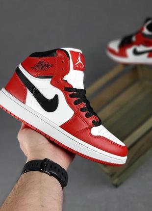 Nike air jordan🆕женские кожаные высокие кроссовки найк аир джордан🆕красные с белым