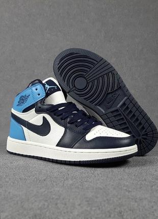 Nike air jordan🆕женские кожаные высокие кроссовки найк аир джордан🆕синие с белым