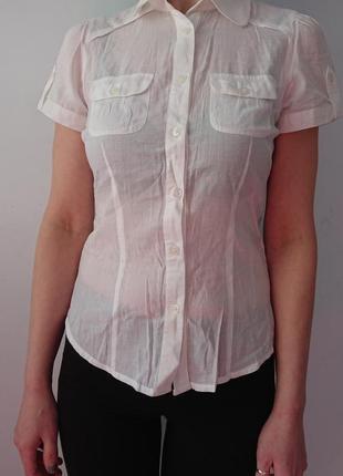 Легкая полупрозрачная белая блузка, рубашка amisu