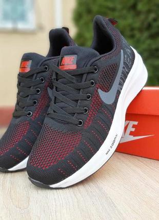 Nike air zoom🆕женские дышащие кроссовки найк аир зум🆕черные с красным белая подошва