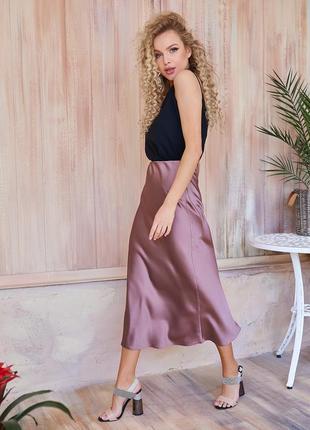 Шелковая юбка трапеция в бельевом стиле