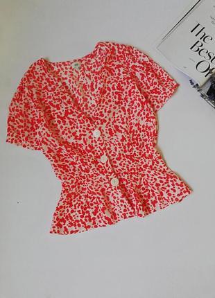 Яскравий топ з баскою,яркая блуза
